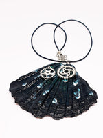 Black Butterfly Wing Statement Necklace with Watch Movement Wheels - Vintage Radar