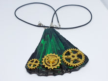 Load image into Gallery viewer, Emerald Green Handmade Necklace with Gold-tone Watch Movement Wheels - Vintage Radar
