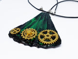 Emerald Green Handmade Necklace with Gold-tone Watch Movement Wheels - Vintage Radar