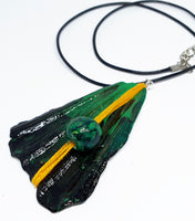 Emerald Green Triangle-Shaped Pendant and Necklace | Handmade - Vintage Radar