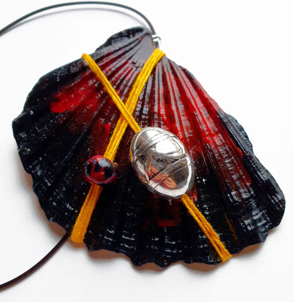Handmade Statement Necklace | Dark Red Pendant Handpainted - Vintage Radar