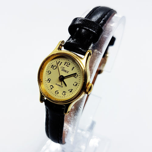 Small Gold Timex Leather Watch for Women | Ladies Small Gold Timex Dress Watch - Vintage Radar