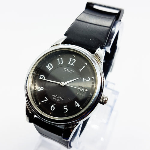 Black Timex Indiglo Date Watch for Men | Mens Silver 36mm Timex Watch - Vintage Radar
