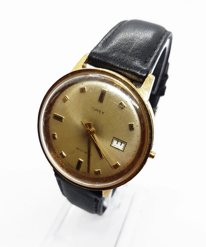 Gold-Tone Mechanical Timex Watch | Self-Winding Vintage Watches - Vintage Radar