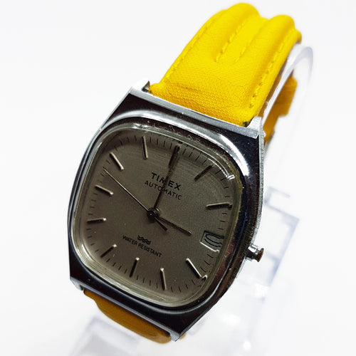 Square Automatic Timex Watch | Silver-Tone Mechanical Watch For Men - Vintage Radar