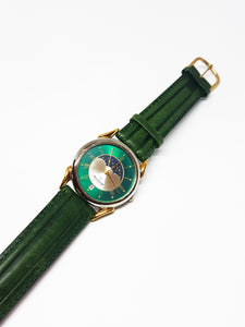 Peugeot Moon Phase Watch for Men & Women | Green Peugeot Car Watch - Vintage Radar