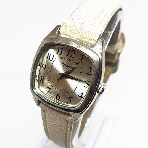 Square Silver-Tone Carriage Watch | Quartz Watches Collection - Vintage Radar