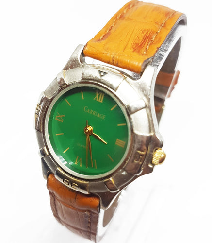 Green Dial Silver-Tone Vintage Watch | Sports Watch Collection - Vintage Radar