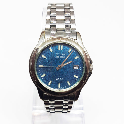 Blue Dial Citizen Eco-Drive Vintage Watch | Eco-Friendly Citizen Watches - Vintage Radar