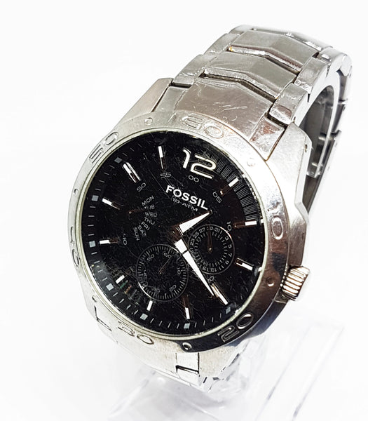 Black Dial Silver-Tone Fossil Watch | Men's Vintage Watches - Vintage Radar