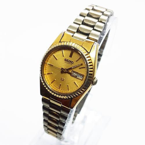 Vintage 3E23-0A69 Seiko Watch |  Gold-tone Unisex Seiko Date Watch - Vintage Radar