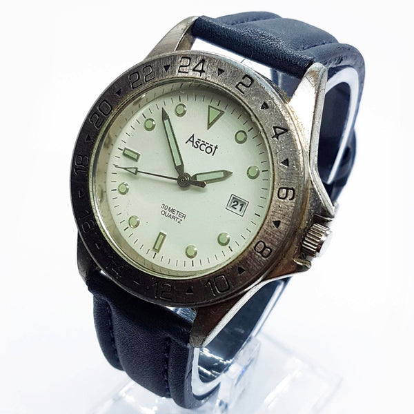 Silver-Tone Ascot Quartz Watch for Men | Minimalist Date Watches - Vintage Radar