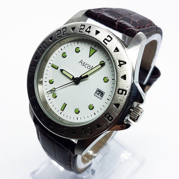 Silver-Tone Ascot Date Watch For Men | Luxury Ascot Quartz Watch - Vintage Radar