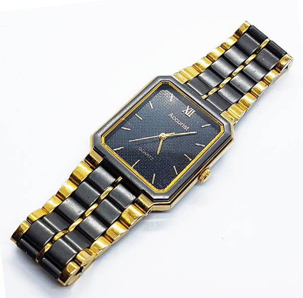 Black & Gold Luxury Accurist Watch | Unisex Vintage Accurist Watches - Vintage Radar