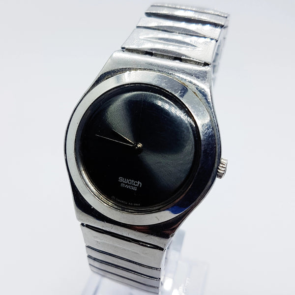 2002 DEEP NIGHT YLS125 Swiss Swatch Watch | Medium Sized Swatch Irony - Vintage Radar
