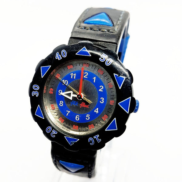 2000 Flik Flak Blue & Red Swiss Made Watch for Kids and Adults Vintage