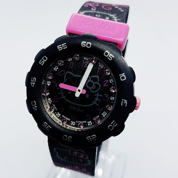 Hello Kitty Black & Pink Flik Flak por Swatch Watch Vintage Swiss Watches