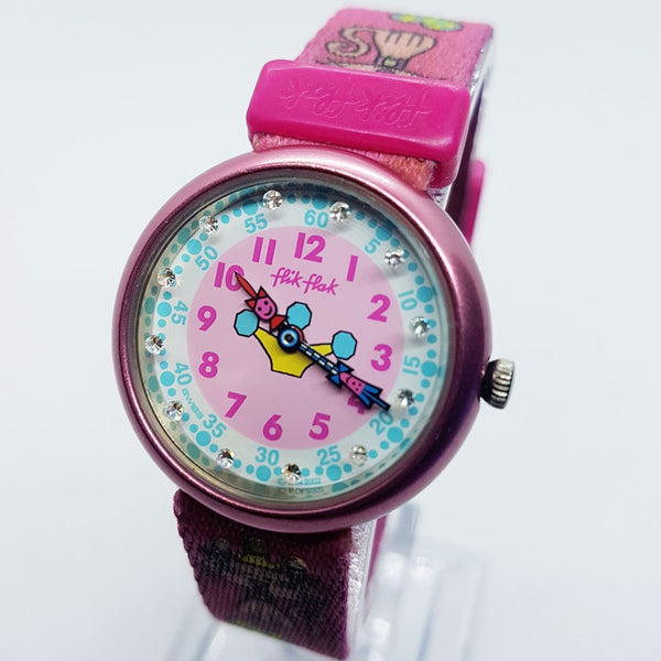 2002 Flik Flak Story Time Watch | Pink Princess Cat Swiss Watch for Her