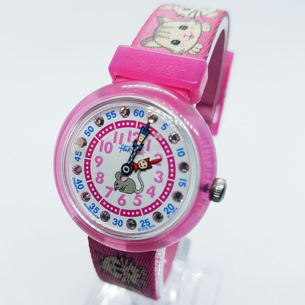 Pink Cat & Mouse Flik Flak Swiss Made Watch for Kids by Swatch