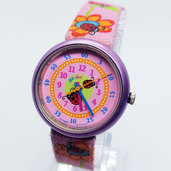 2003 Purple Lady Bug Flik Flak Swiss Swatch Watch for Women & Girls
