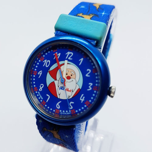 Chrismas Flik Flak Swiss Watch for Men and Women | Blue Santa Swiss Watch