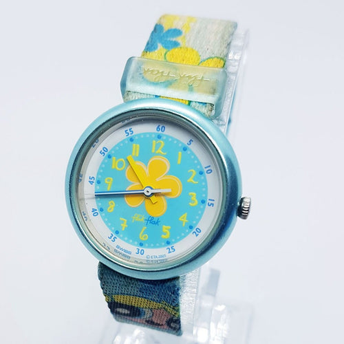 Bubbles Powerpuff Girls Hula Heroes Swiss Watch | Floral Hippie Flik Flak Watch