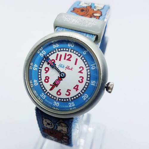 2001 Blue Teddy Bear Flik Flak Swiss-Made Watch for Boys & Girls