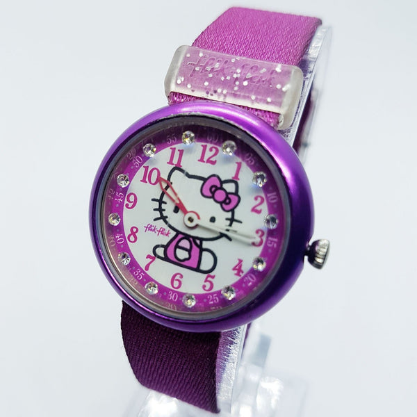 Magenta Hello Kitty Flik Flak Swiss Watch para Mujeres y Niñas ETA 2010