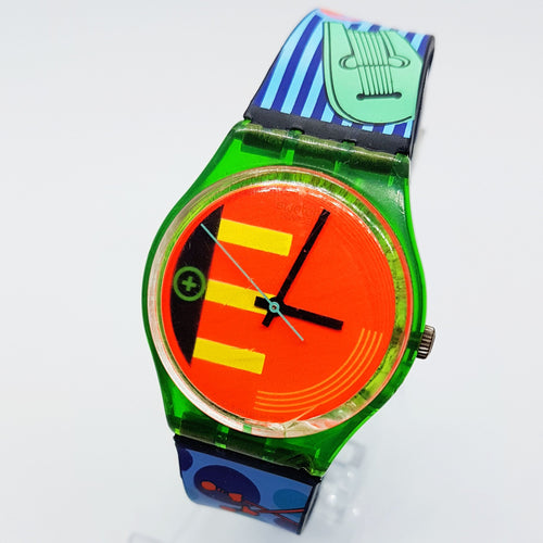 1988 Rare NEO RIDER GG103 Swatch Watch | 80s Swiss Neon Swatch Watch - Vintage Radar