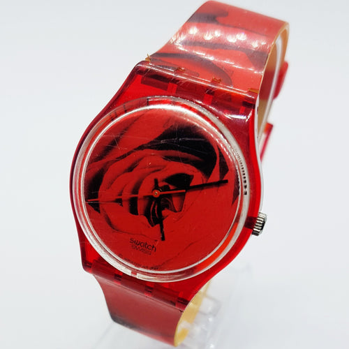1998 THE ROSE GR136 Red Swatch watch | Womens 90s Swiss Swatch Watch - Vintage Radar