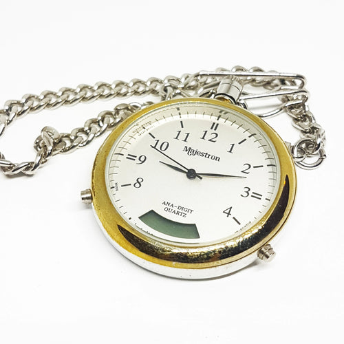 Majestron Mens Stainless Steel Pocket Watch | Two Tone Quartz Pocket Watch - Vintage Radar