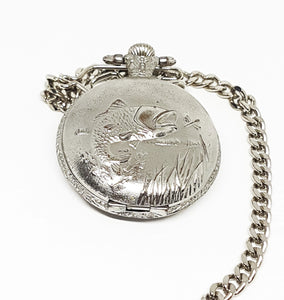 Silver Quartz Fisherman Pocket Watch | Personalized Pocket Watch Gift - Vintage Radar