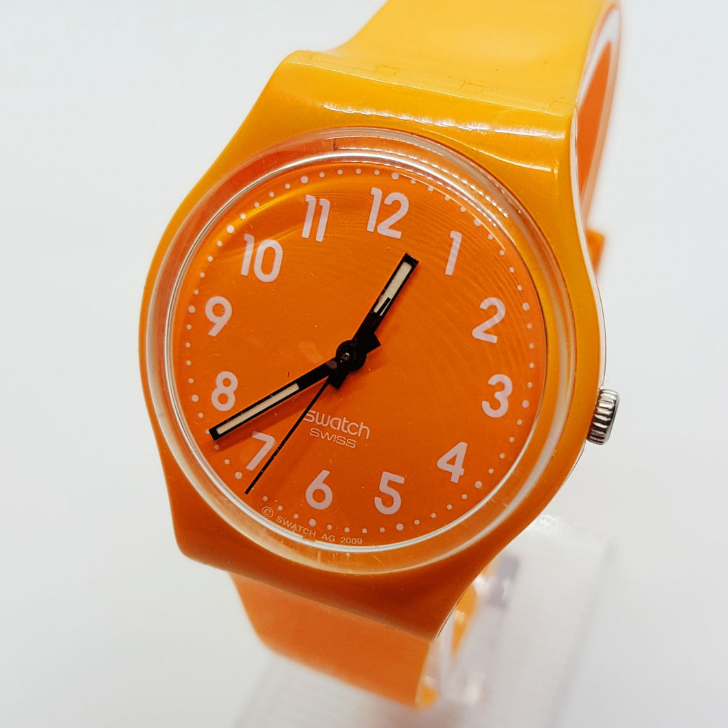 2009 Orange FRESH PAPAYA GO105 Swatch Watch | Orange Swiss Watch - Vintage Radar
