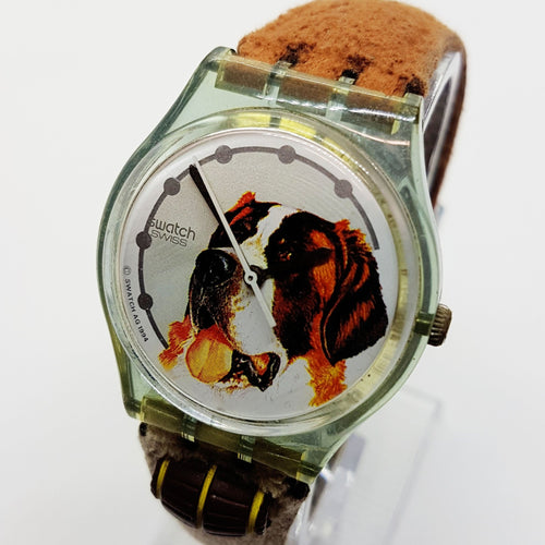 1995 GN152 Barry St Bernard Dog Swiss Swatch Watch | 90s Fun Swatch - Vintage Radar