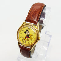 Lorus Mickey Mouse Watch v515 6128 Gold Dial Brown Leather Strap