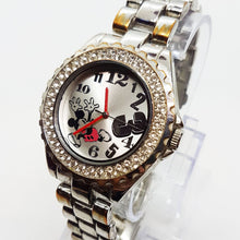 Load image into Gallery viewer, Luxury Silver Accutime Mickey Mouse Disney Watch Elegant Diamond Style Watch