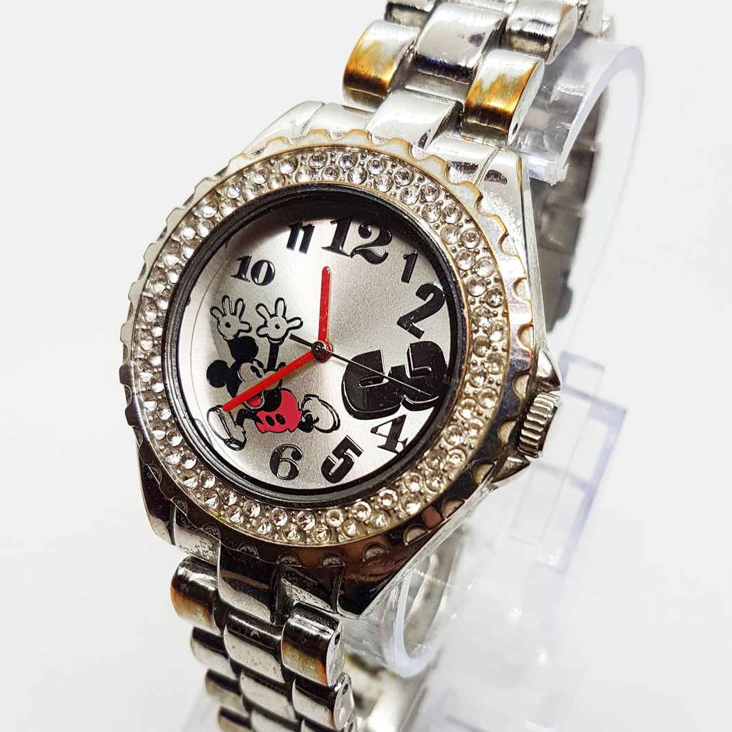 Luxury Silver Accutime Mickey Mouse Disney Watch Elegant Diamond Style Watch