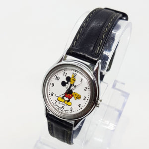 Black Leather Mickey Mouse Lorus Vintage Watch for Men and Women