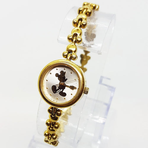Unique Womens Disney Mickey Mouse Gold Tone Watch Minimalist Elegant Design