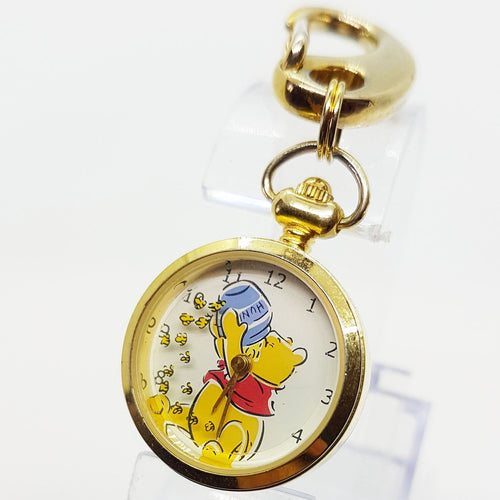 Verichron Winnie The Pooh Disney Pocket Watch Small Gold-Tone
