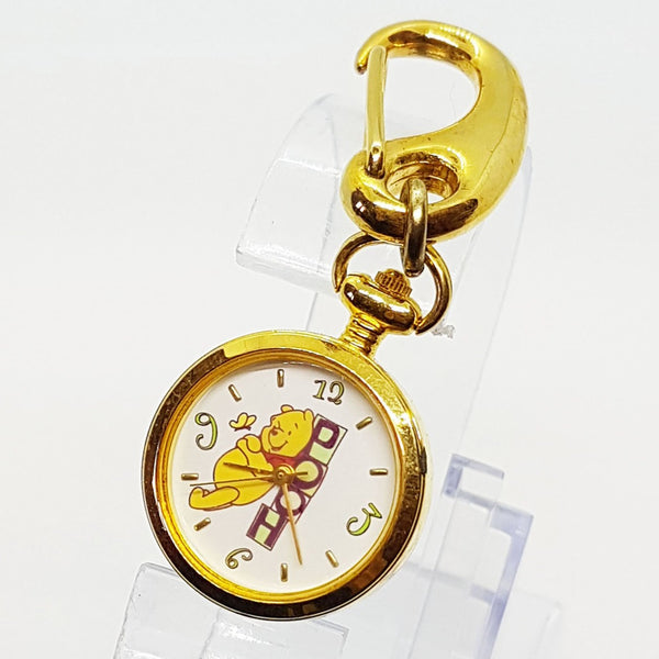 Gold Tone Winnie The Pooh Disney Pocket Watch Vintage