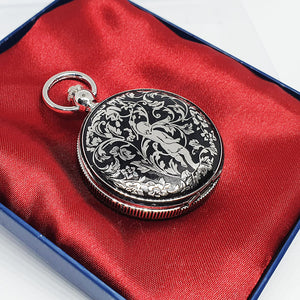 Silver-tone Baby Angel Pocket Watch | Engraved Gift Pocket Watch