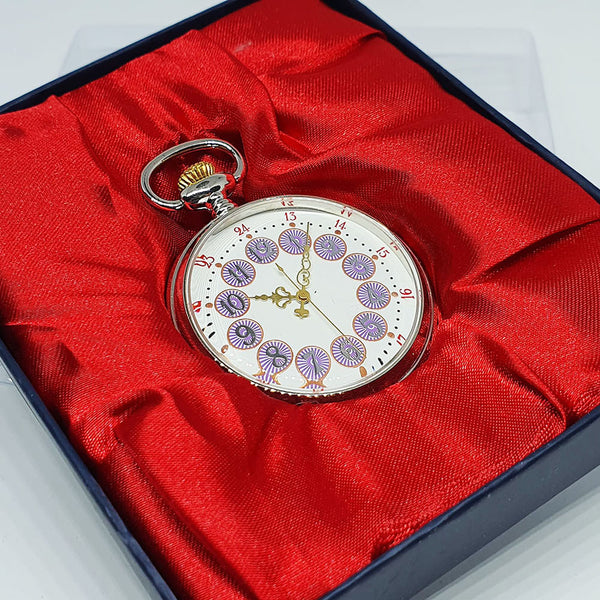 Silver-tone Pocket Watch with Purple Numerals | Railroad Gift Watch