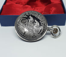 Load image into Gallery viewer, Silver-tone Cyclists Pocket Watch | Antique Bike Ride Pocket Watch
