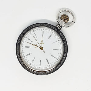 Silver-tone Cyclists Pocket Watch | Antique Bike Ride Pocket Watch