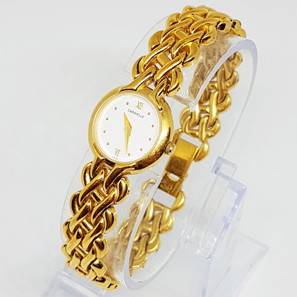 Gold-tone Caravelle Ladies Watch | Minimalist Luxury Bulova Watch - Vintage Radar