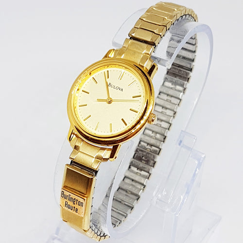 Minimalist Gold-tone Bulova Watch | Luxury Dress Watch for Women - Vintage Radar