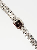 Square Black Dial Silver-tone Bulova Watch | Minimalist Watch for Women - Vintage Radar