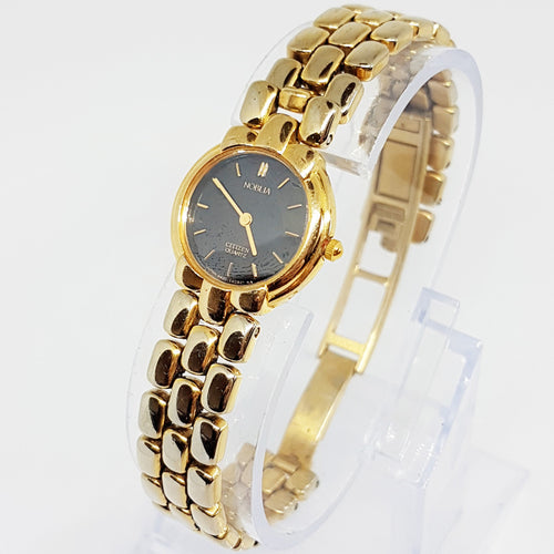 Black Dial Gold Noblia Citizen Quartz | Citizen 4420 E40387 Dress Watch - Vintage Radar
