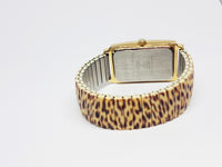 Gold-tone Embassy by Gruen Quartz Watch | Animal Print Women's Watch - Vintage Radar